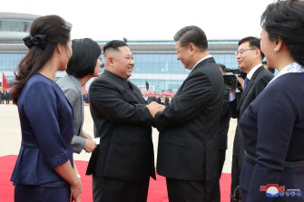 Consolidated friendship: North Korea's Kim Jong-un, left, welcomes China's Xi Jinping to Pyongyang last year.