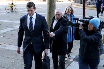 Ben Roberts-Smith arrived through a media scrum for his first day in the witness stand.