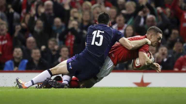 Try time: George North bagged one of Wales' two five-pointers in the 21-10 win over Scotland.