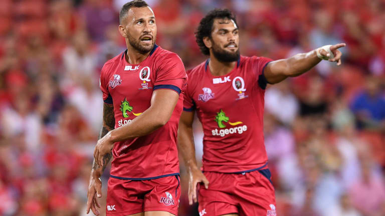 Back in shop window: Quade Cooper and Karmichael Hunt with the Reds.