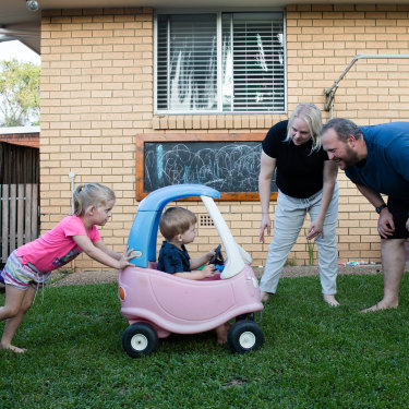 Keith Heggart, his wife Elizabeth and their children Sophia and Lucas at their South Penrith home.