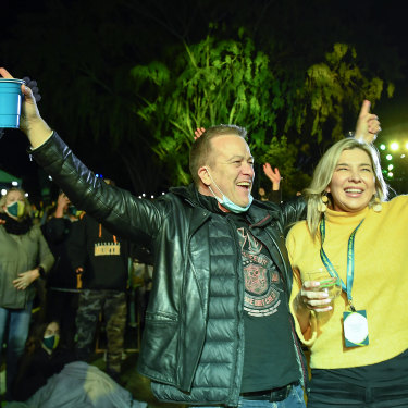 Spectators celebrate after Brisbane was announced the host of the 2032 Olympics.