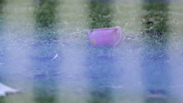 A pink tea pot in the front yard of the Perinovic's home.