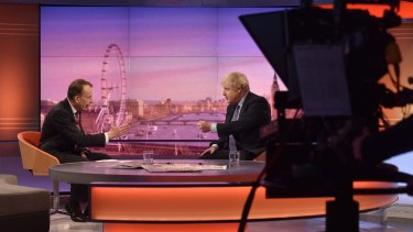 Prime Minister Boris Johnson is interviewed on the BBC during the general election campaign.