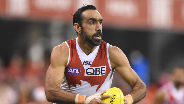 Sydney Swans player Adam Goodes before his retirement.