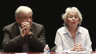 Mexico's President-elect Andres Manuel Lopez Obrador and incoming Interior Secretary Olga Sanchez pictured in August.