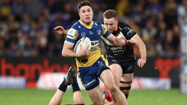 Mitchell Moses makes the break that led to his try and put an exclamation mark on his performance.