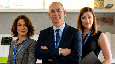 Kitty Flanagan, Rob Sitch and Celia Pacquola in ABC comedy series Utopia.