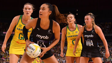 New Zealand's Maria Folau with possession against Australia in their Constellation Cup win on Sunday.