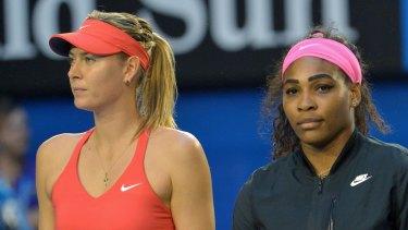 Maria Sharapova and Serena Williams  before the 2015 Australian Open final.