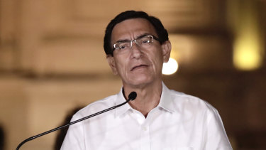 Martin Vizcarra, Peru's ousted president, speaks during a news conference at the Government Palace in Lima.