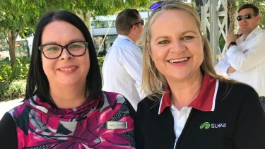 Gasworks Plaza general manager Leonie Deaves and Suez Queensland sales manager Liesl Hull at Gasworks Plaza.