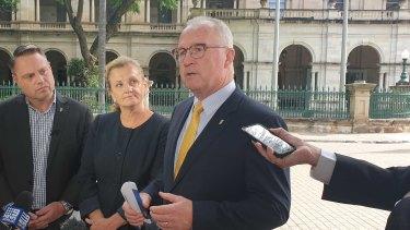 Sunshine Coast mayor Mark Jamieson (centre), with Brisbane Lord Mayor Adrian Schrinner and Redland City mayor Karen Williams.