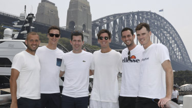 Great Britain ATP Cup team members Jamie Murray, James Ward, Tim Henman, Dan Evans, Joe Salisbury and Cameron Norrie pose for photo in front of the Sydney Harbour Bridge on New Year's Day.