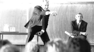 Bob Hawke talking to students at St Monica's College in Epping, Victoria, in 1987.