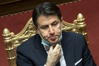 Italian Prime Minister Giuseppe Conte speaks during his final address at the Senate prior to a confidence vote, in Rome.