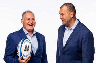 David Campese (left) and Michael Cheika have been part of Stan's coverage of Super Rugby AU.