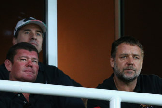 James Packer with Russell Crowe. Packer will become an onlooker when it comes to Crown Resorts.