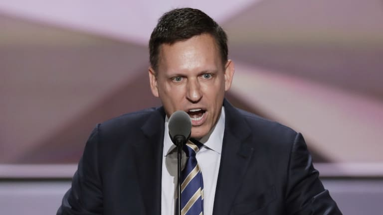 Billionaire Peter Thiel speaks during the final day of the Republican National Convention in Cleveland in 2016.