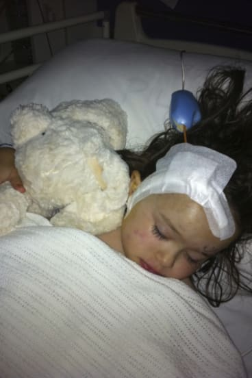 Audrey Anderson when she was five-years-old following treatment with proton therapy.