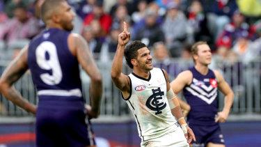 All smiles: Sam Petrevski-Seton celebrates slotting a major for Carlton.