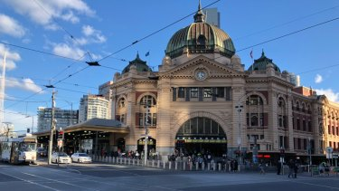 Impression of Flinders Street Station once the permanent bollards are installed.
