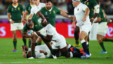 England's Kyle Sinckler suffered a concussion while making a tackle in the Rugby World Cup final.