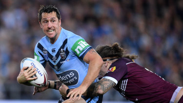 Mitchell Pearce of the Blues during game three of the 2019 State of Origin in Sydney.
