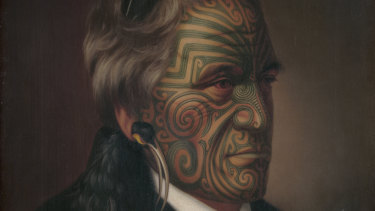 Gottfried Lindauer, Tomika Te Mutu, chief of the Ngāi Te Rangi tribe, Bay of Plenty, 1880, oil on canvas, National Library of Australia, Canberra, Rex Nan Kivell Collection, detail.