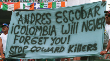 Andres Escobar banner at the 1994 World Cup days after his death in Colombia