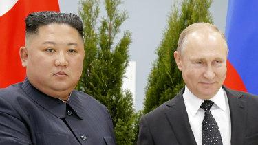 Russian President Vladimir Putin, right, and North Korea's leader Kim Jong-un shake hands during their meeting in Vladivostok, Russia.