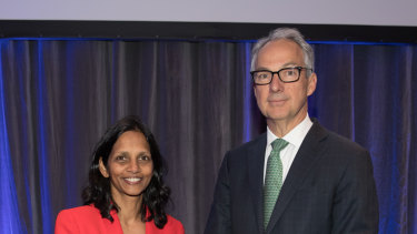 New Macquarie CEO Shemara Wikramanayake with outgoing CEO Nicholas Moore are expected to be interviewed by German authorities.