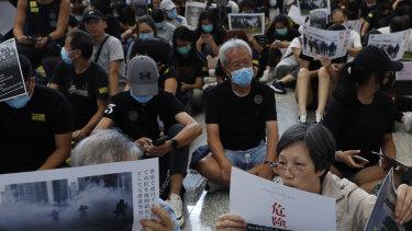 Pro-democracy protesters held a demonstration at Hong Kong's airport Friday.