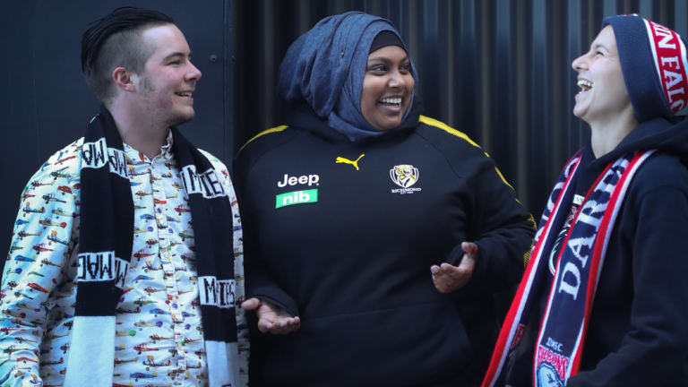 'The podcast has carved out a space for footy fans that didn't really exist,' says Julia Chiera, right.