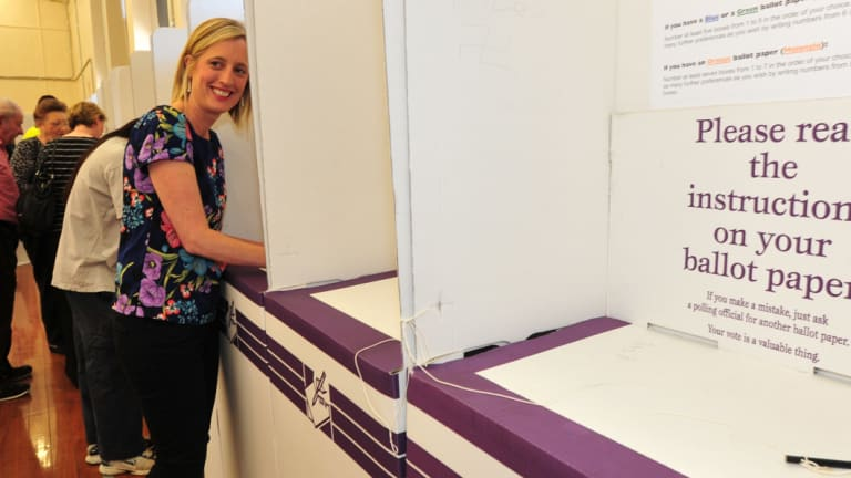 Katy Gallagher casts her vote in 2012. By the next election, Labor will have been in power for 19 years.