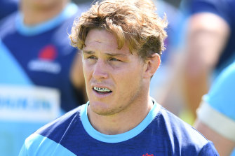 Just one of the boys again: Hooper at Waratahs training on Wednesday.