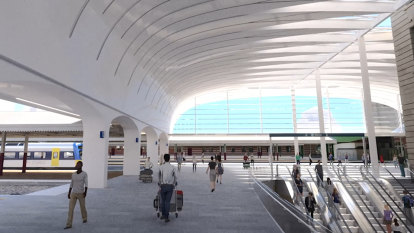 Central Station's new 330-tonne 'hockey stick' roof