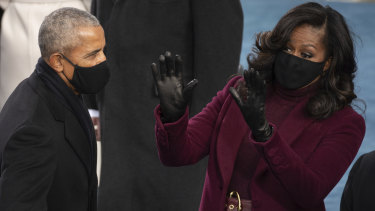 Former President Barack Obama and his wife Michelle prior to the swearing in ceremony of Joe Biden in January.