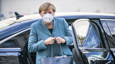 German Chancellor Angela Merkel arrives at the federal parliament in Berlin on Tuesday.
