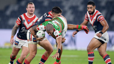 Victor Radley found himself in hot water for this tackle on South Sydney's Dane Gagai.