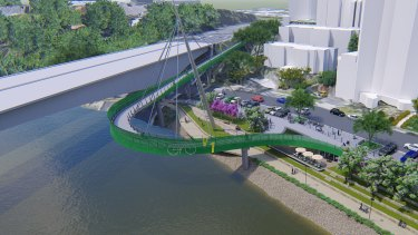 An artist's impression of the new cycle bridge at South Brisbane.