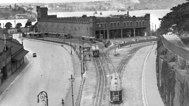The tram depot at Bennelong Point, the site for the  Sydney Opera House.
