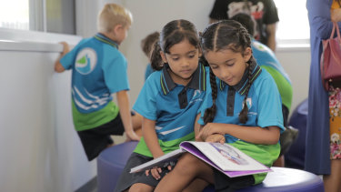 Students at Ipswich's Spring Mountain State School, which is on the list to be airconditioned.
