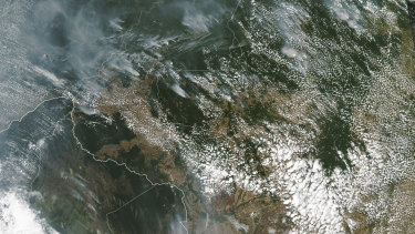 This satellite image shows several fires burning in the Brazilian Amazon forest.