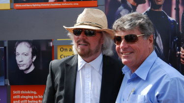 Barry Gibb and Allan Sutherland at the initial opening of Bee Gees Way in 2013.