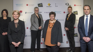 Enough is enough: Catherine Fitzpatrick, CBA; Natasha Stott Despoja, Our Watch; Sian Lewis, CBA;  Prof Jan Breckenridge, UNSW; Renata Field, Domestic Violence NSW; and Matt Comyn, CBA CEO, at the bank's Sydney headquarters last Thursday.