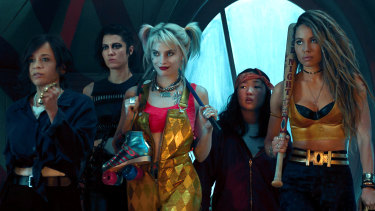Rosie Perez as Renee Montoya, Mary Elizabeth Winstead as Huntress, Margot Robbie as Harley Quinn, Ella Jay Basco as Cassandra Cain and Jurnee Smollett-Bell as Black Canary in Birds of Prey (and the Fantabulous Emancipation of One Harley Quinn).