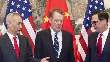 China's vice-premier Liu He (left) and US Treasury secretary Steven Mnuchin (right) are trying to wrap up trade talks.