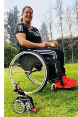 Paralympian Francisca Mardones, from Chile, and her Barbie mini me.