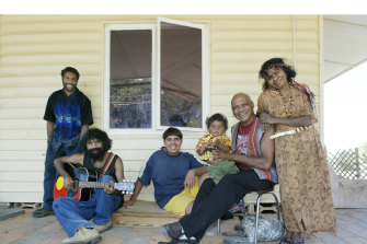 Archie Roach with (from left) sons Eban, Amos and Terrence, grandson William and wife Ruby Hunter, at his then home at Berri, South Australia, in 2003.